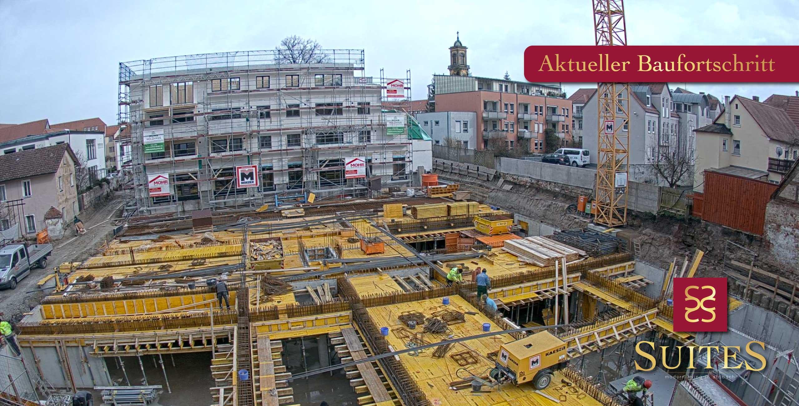 Alte Poststraße Ansbach SUITES Baufortschritt Baustand Eigentumswohnungen Neubau